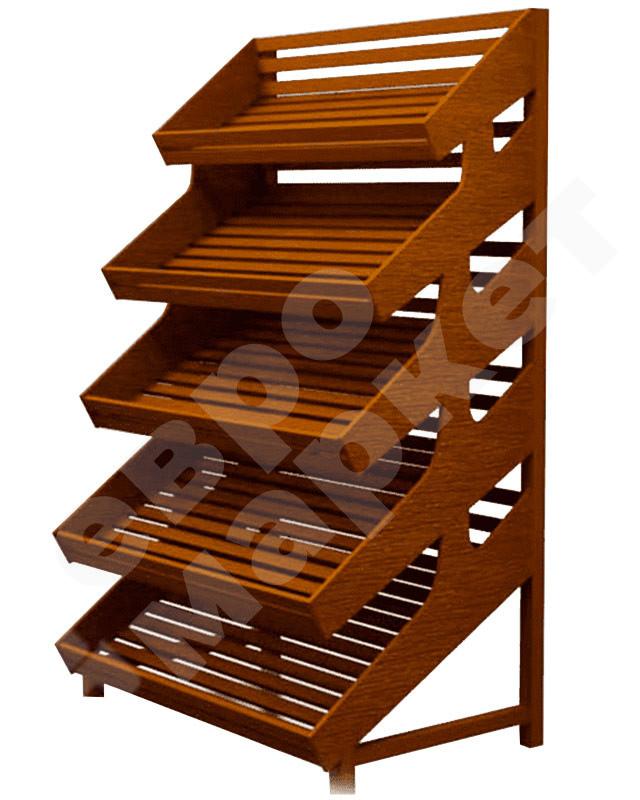 Стеллаж деревянный с пятью полками без накопителя