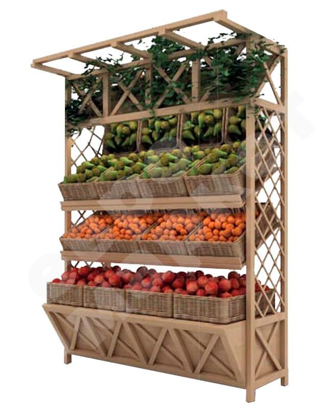 Деревянный стеллаж для овощей под корзины. EM-02.116.000 СБ