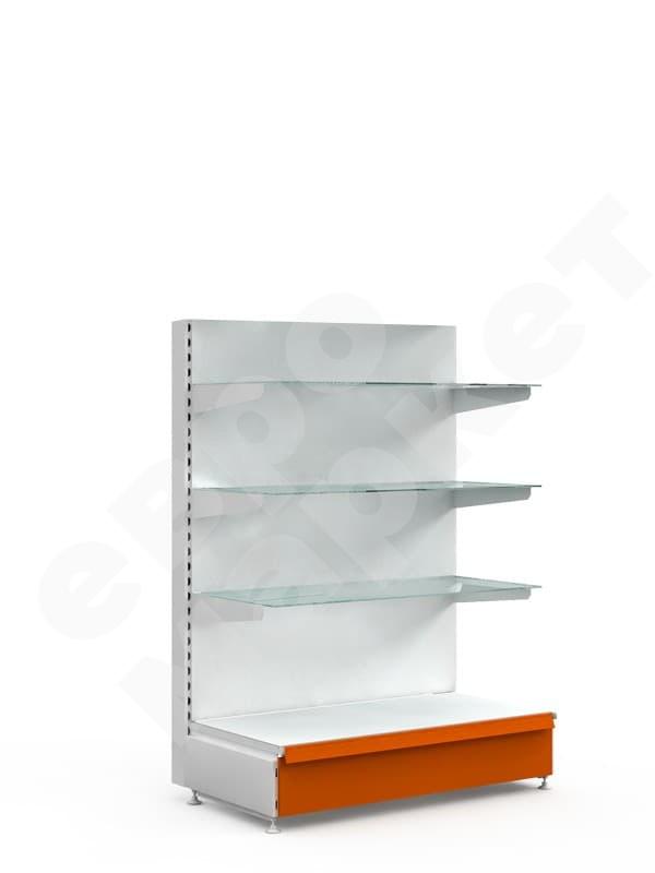 Торговый стеллаж с полками из стекла средний