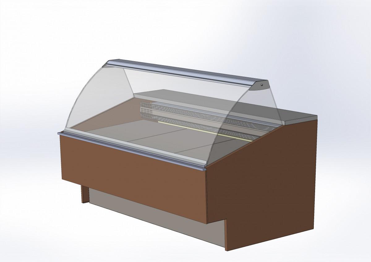 Витрина с гнутым стеклом для кафе BELCANTO