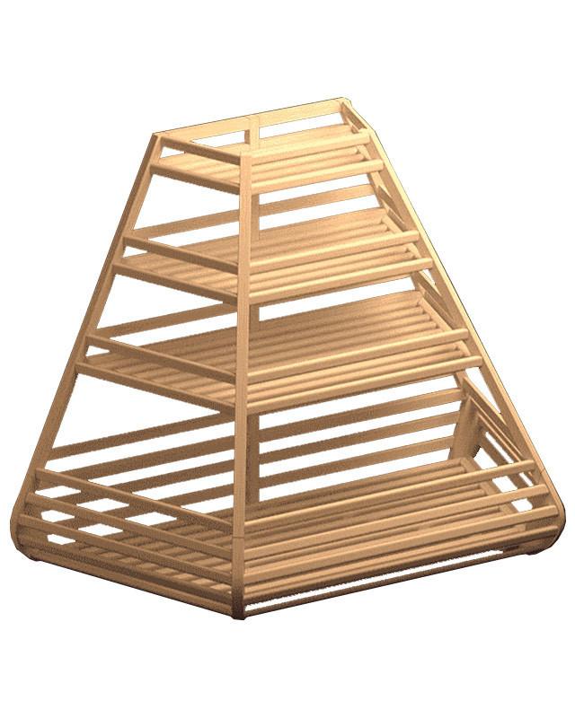 Низкий деревянный стеллаж трапециевидный с накопителем