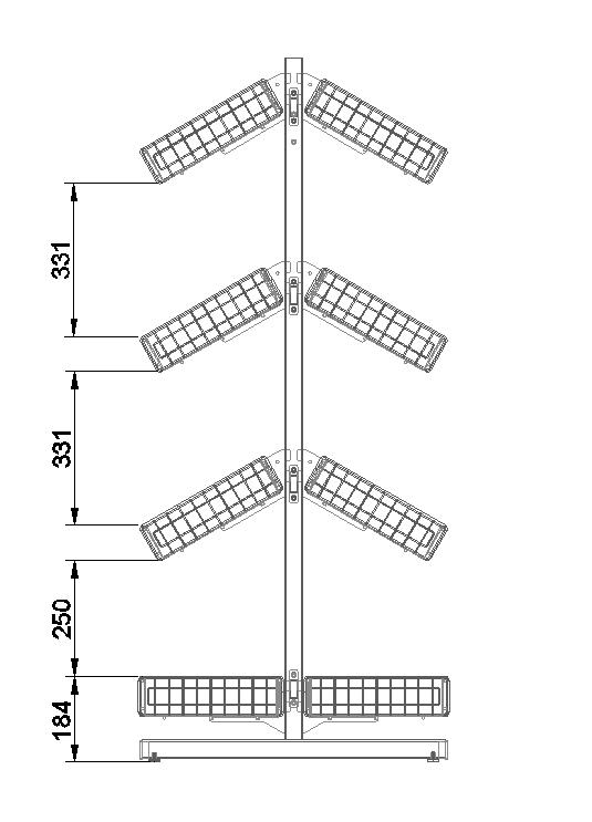 Стойка двухсторонняя 8 корзин 736х650х1500 мм