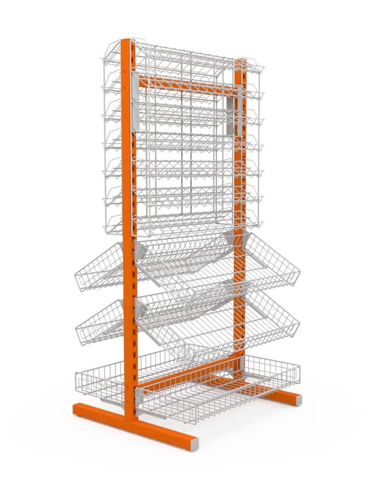 Стойка двухсторонняя, 6 корзин+2 наклонных блока 7 полок 736х650х1500 мм