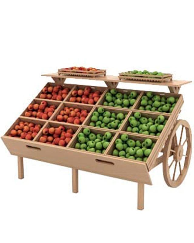 Деревянный развал для овощей и фруктов с ящиками в виде телеги Арт. F006М.