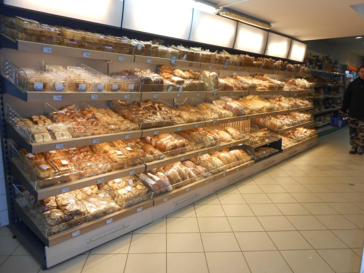 Хлебный стеллаж без подсветки и фриза