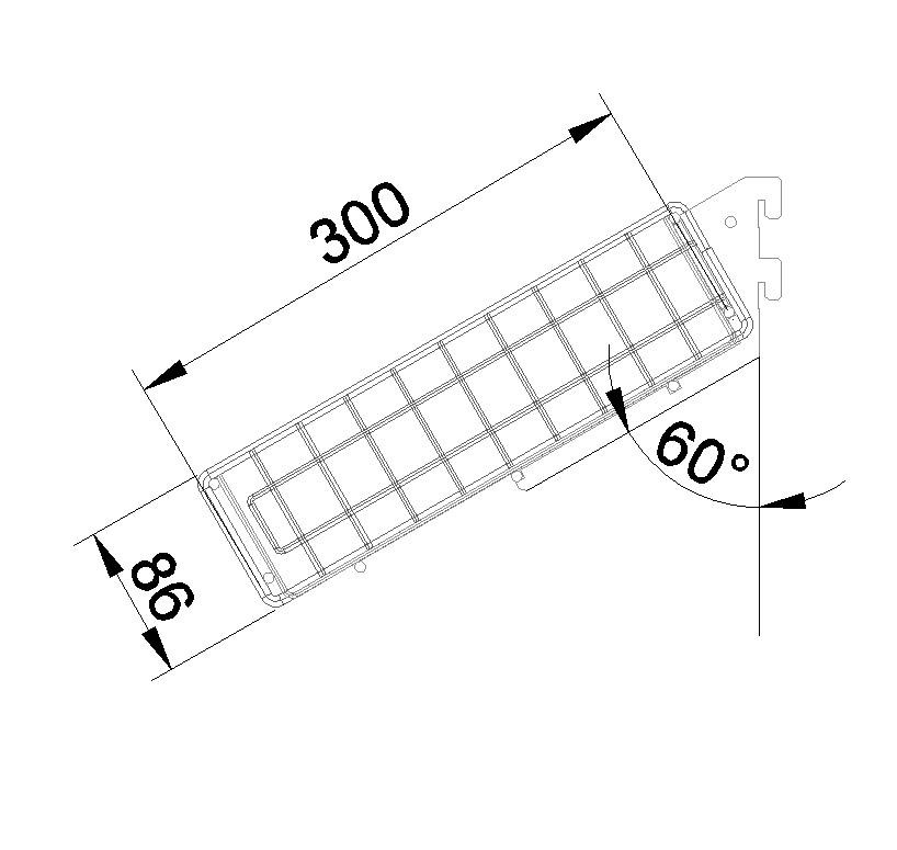 Корзина торцевая наклонная 647*300*80