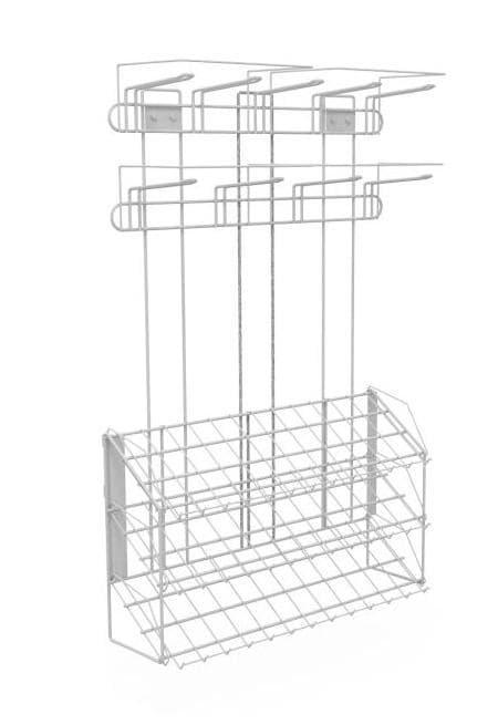Наклонный блок 3 полки с кронштейнами (ДхГхВ) 647х195х950 с блоком крючков 9шт.
